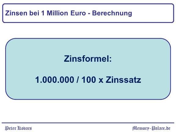 Zinsen 1 Million Euro - Berechnung