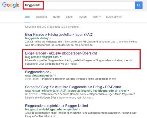 Ranking Blogger Seiten
