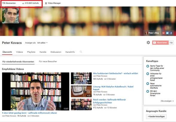 YouTube Kanal von Peter Kovacs