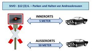 Adnreaskreuz-Abstand halten beim Parken