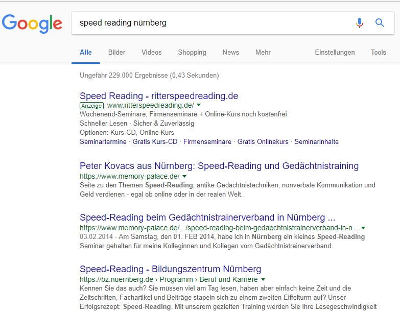 Speed-Reading-Nürnberg-Trefferliste