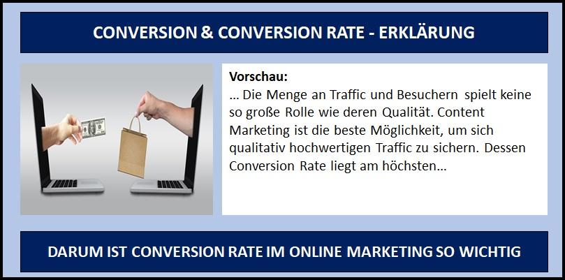 Conversion und Conversoin Rate - Erklärung Definition Fallbeispiele