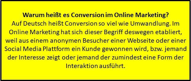 Woher kommt der Name Conversion im Online Marketing